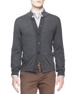 Mens Melange Knit Buttoned Cardigan   Brunello Cucinelli   Charcoal (XXL/56)