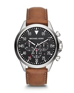 Michael Kors Mens Oversize Brown Chronograph Watch   Brown