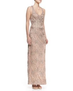 Womens Sleeveless V Neck Embroidered Column Gown, Beige   Sue Wong   Beige (0)