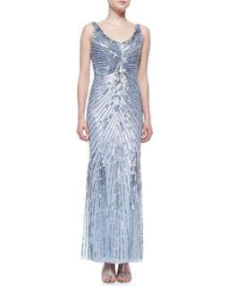 Womens Beaded Gown with Sunburst Pattern, Light Blue   Aidan Mattox   Light