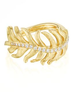 Phoenix 18k Yellow Gold Diamond Feather Ring   Mimi So   Yellow (6)