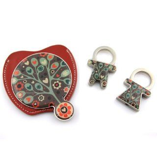 Retro Tree Of Love Colorful Soft Case Pocket Mirror With His and Hers Zipper Charm Key Chain Soft D�cor Bag Lock Health & Personal Care