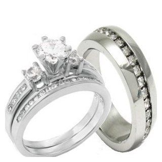 3 Pieces Men's Women's, His & Hers, 925 Sterling Silver & Stainless Steel Engagement Wedding Ring Set, AVAILABLE SIZES men's 7,8,9,10,11,12; women's set 5,6,7,8,9,10. CONTACT US BY EMAIL THROUGH  WITH SIZES AFTER PURCHASE Jewelry