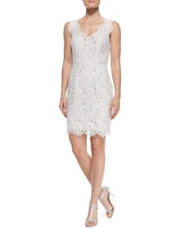 Womens Sleeveless Lace Overlay Cocktail Dress   Shoshanna   Ivory floral (8)