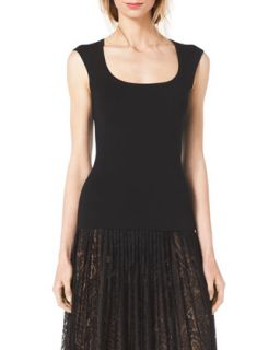 Womens Scoop Neck Cap Sleeve Top   Michael Kors   Black (X SMALL)
