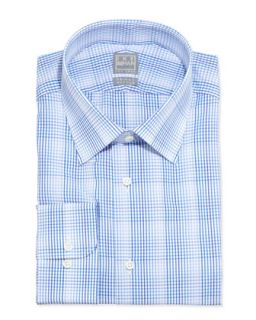 Mens Long Sleeve Plaid Dress Shirt, Shades of Blue   Ike Behar   Blue (16 1/2L)
