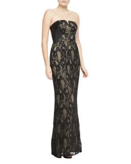 Womens Strapless Faux Leather & Lace Gown   Aidan Mattox   Black (8)