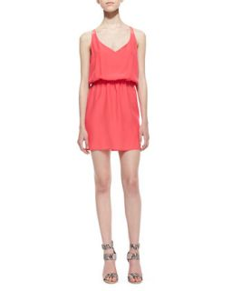 Womens V Neck Knotted Strap Dress, Electric Rouge   Amanda Uprichard Loves