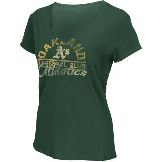 G III Womens Oakland Athletics Football Logo Slub V Neck Short Sleeve T Shirt