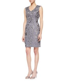 Womens Sleeveless Floral Sheath Dress   Sue Wong   Charcoal (2)