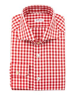 Mens Large Gingham Dress Shirt, Red   Kiton   Red (17)