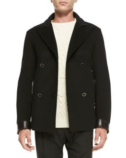 Mens Wool/Cashmere Peacoat with Leather Detail, Black   Alexander McQueen