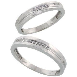 10k White Gold Diamond Wedding Rings Set for him 4 mm and her 3.5 mm 2 Piece 0.07 cttw Brilliant Cut, ladies sizes 5   10, mens sizes 8   14 Jewelry