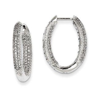 14k White Gold Diamond In   Out Hinged Hoop Earrings. Carat Wt  0.75ct Jewelry