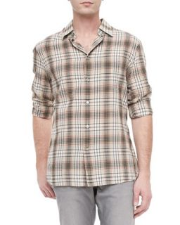 Mens Slim Fit Shirt, Sand   John Varvatos Star USA   Desert sand (X LARGE)