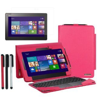 BIRUGEAR Leather Keyboard Portfolio Stand Case w/ Stylus, Screen Protector for ASUS Transformer Book T100 ( T100TA C1 GR )   10.1'' Convertible Laptop Tablet ( Hot Pink Case) Computers & Accessories