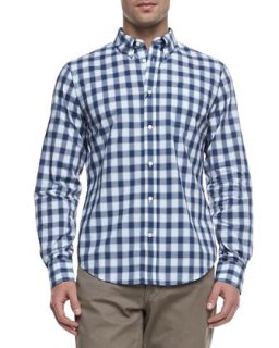 Mens Faded Check Long Sleeve Shirt   Vince   Navy (LARGE)