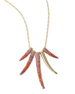Pave Horn Gradient Long Necklace, Pink Multi   Sequin   Pink multi (ONE SIZE)