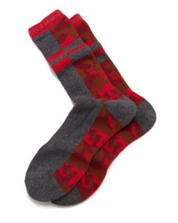 Split Camo Mens Socks, Charcoal/Red   Arthur George by Robert Kardashian