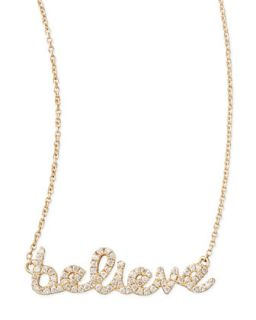 14k Yellow Gold Diamond Believe Necklace   Sydney Evan   Yellow (14k )