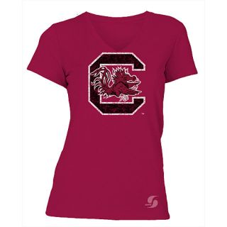 SOFFE Womens South Carolina Gamecocks No Sweat V Neck Short Sleeve T Shirt