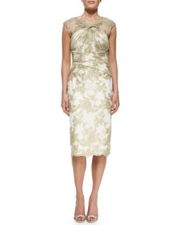 Womens Cap Sleeve Lace Overlay Cocktail Dress   Badgley Mischka Collection