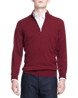 Mens 2 Ply Cashmere Half Zip Pullover, Wine   Brunello Cucinelli   Wine (XL/54)
