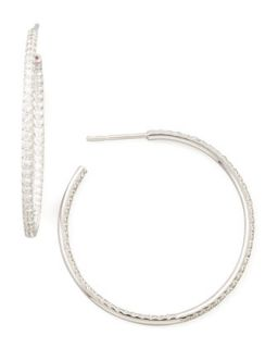 35mm White Gold Diamond Hoop Earrings, 1.1ct   Roberto Coin   White (1ct ,35mm ,