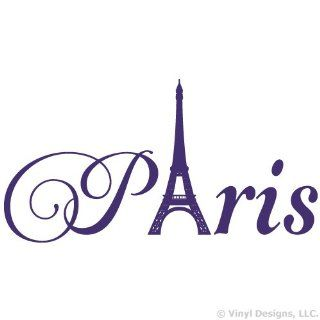 Paris Eiffel Tower Vinyl Wall Decal Sticker Art, Home Decor, Purple