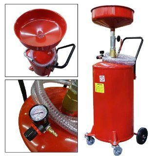 Portable Waste Oil Drain 20 Gallon Capacity Tank Air Operated w/ Wheels Hose Automotive