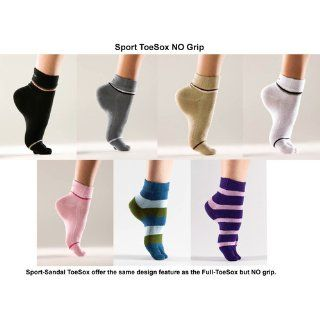 ToeSox Sport / Sandal Organic Cotton Toe Socks, Black, Small  Yoga Socks  Clothing