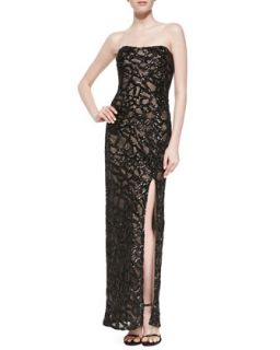 Womens Strapless Beaded Gown w/Side Slit   Aidan Mattox   Black (6)