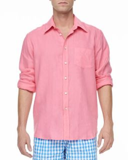 Mens Linen Long Sleeve Shirt, Pink   Vilebrequin   Pink (XXX LARGE)