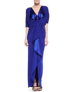 Womens Cold Shoulder V Neck Silk Gown   Catherine Malandrino   Iris (0)