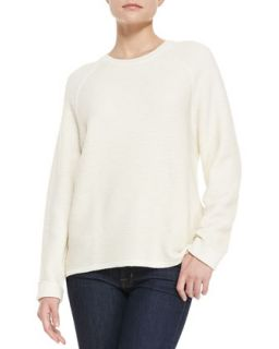 Womens Long Sleeve Ribbed Jacquard Sweater, Bone   Halston Heritage   Bone