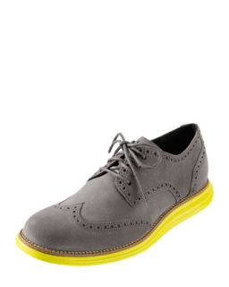Mens LunarGrand Wing Tip, Gray/Yellow   Cole Haan Collection   Yellow (12)
