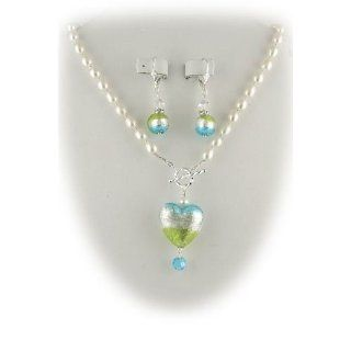 Aqua Lime Green Murano Glass Heart Pendant Freshwater Pearl Lariat Sterling Silver Toggle Necklace Earrings Set Jewelry