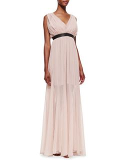 Womens Kendrick Leather Waist Chiffon Gown   Alice + Olivia   Nude lip (2)