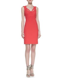 Womens Sleeveless Cutout Neck Sheath Cocktail Dress   Nicole Miller   Pink (0)