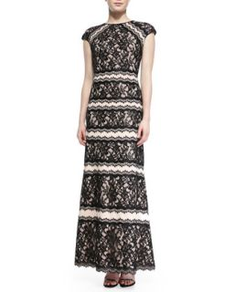 Womens Cap Sleeve Tiered Lace Gown   Tadashi Shoji   Blck/Antique pink (6)