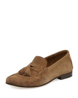 Balmoral Mens Suede Moccasin Driver, Tan   Jimmy Choo   Tan (40 1/2)