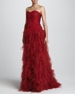 Womens Strapless Tulle Gown with Woven Bodice, Claret   J. Mendel   Claret (10)