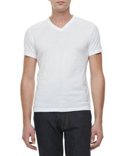 Mens V Neck Short Sleeve Tee, Purple   Ralph Lauren Black Label   White (SMALL)