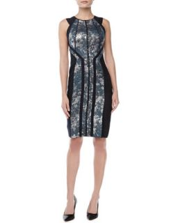 Womens Sleeveless Jacquard Sheath Dress, Celestial   J. Mendel   Celestial (10)