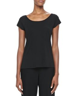 Silk Jersey Cap Sleeve Tee, Womens   Eileen Fisher   Black (3X (22/24W))