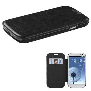 Synthetic Leather Black Hard Magnetic Flip Cover Pouch W/ ID Card Holder For Samsung Galaxy S3 III i9300 i747 (StopAndAccessorize) Cell Phones & Accessories