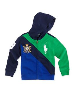 Big Pony Colorblock Full Zip Hoodie, Navy Multi, Toddler Boys 2T 3T   Ralph