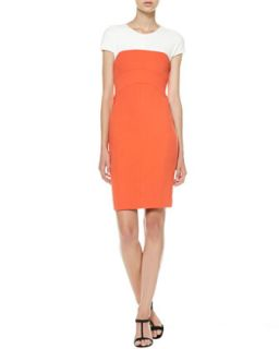 Womens Cap Sleeve Colorblock Sheath Dress   Narciso Rodriguez   White mandarin