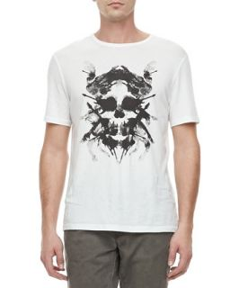 Mens Skull Inkblot Short Sleeve Tee, White   John Varvatos Star USA   White (X