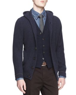 Mens English Ribbed Cashmere Hooded Cardigan   Brunello Cucinelli   Ink (L/52)